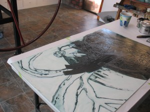 coating the collograph plate with ink
